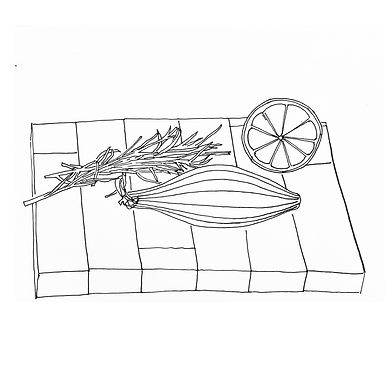 Black and white line drawing of chopping board, onion, rosemary and lemon.