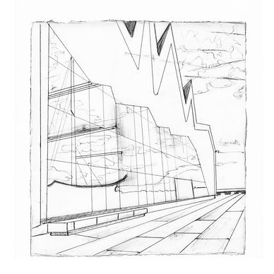 Delicate black and white line drawing depicting the Transport Museum in Glasgow, we can see reflections of a ship on the side of the building.