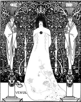 """""""Venus between Terminal Gods"""" 1895 Drawing with india ink by Aubrey Beardsley. Found at the Cecil Higgins Art Gallery, Bedford, United Kingdom."""