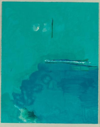 Helen Frankenthaler, Contentment Island 2004, Bright turquoise and blue shades make this abstract painting, with white dashes and a subtle black verticle line which appears to be distant.