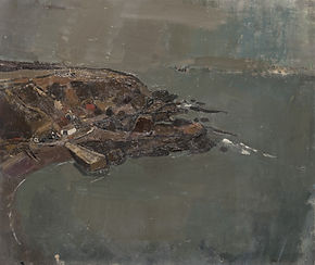 An oil painting in quite dark colours of a coastline. The weather looks very overcast. The sea and sky are shades of grey, the harbour can be seen on the left hand side in muted brown shades.