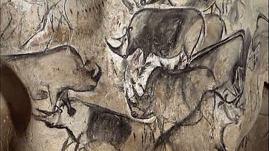 An artistic depiction of a group of rhinoceros, was completed in theChauvet Cave30,000 to 32,000 years ago.