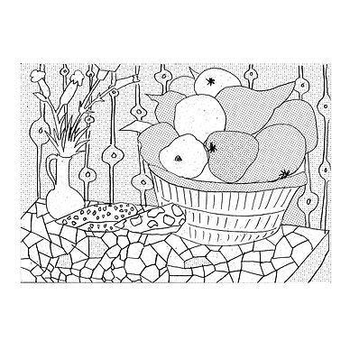 Black and white line drawing of a still life with fruit in a basket, flowers in a jug and mosaic table top, with patterned wallpaper. There are different dotted patterns within different areas of the picture giving it a variety of tones.