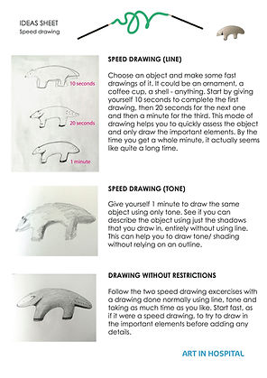 Ideas Sheet with written suggestions of how to speed draw focuisng on line and tone alongside illustrative images.