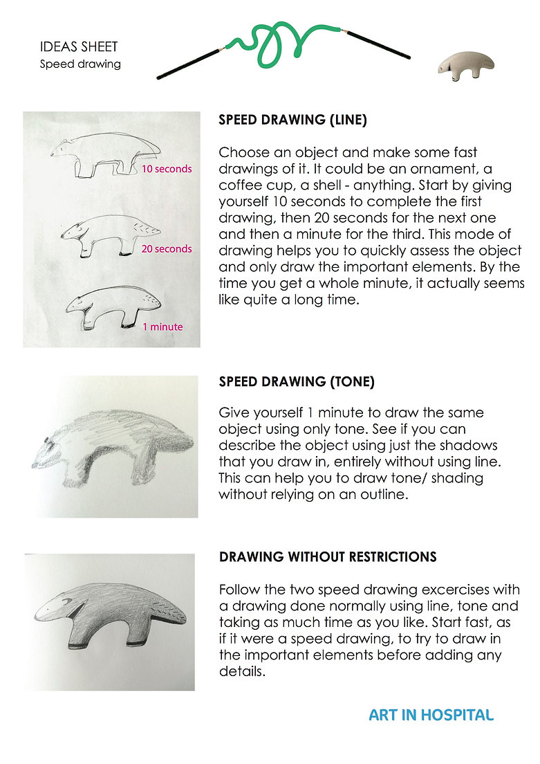 Drawing Ideas Sheet: Speed Drawing including text on how to speed draw focusing on line in one excerise and tone in the other. The text is accompanied by an illustration of a line drawing of an ornamental animal and a tonal drawing of the same object. There is a third exercise bringing tone and line together to create a drawing, with an accompanying illustration.