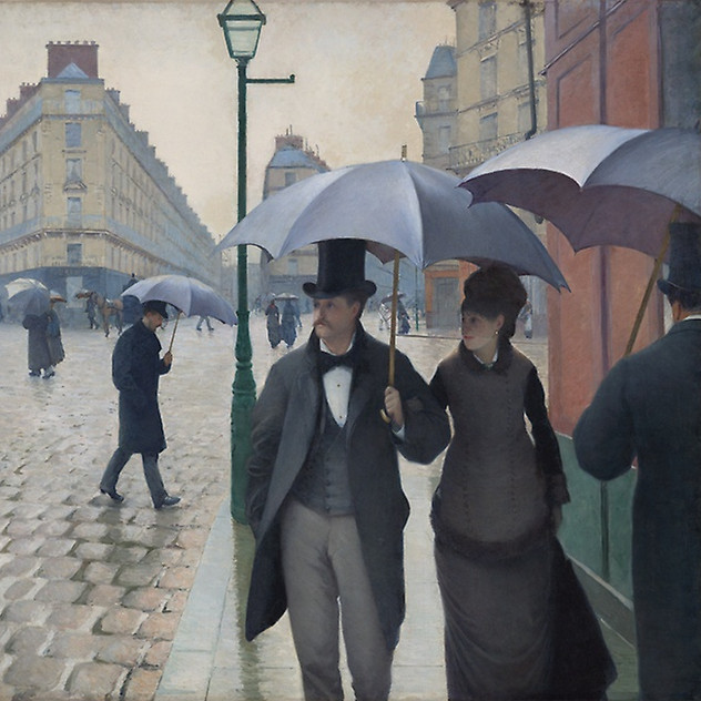 Paris Street; Rainy Day 1877, Gustave Raille source Art Institute of Chicago (Public Domain)