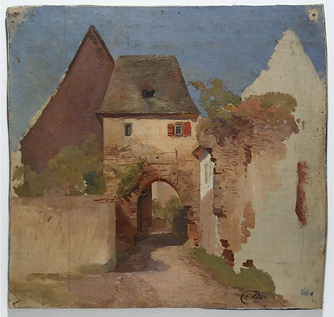 Anonymous, sketch of farm buildings, 1840, oil on canvas on board. A bright sunny day, pale farm buildings, with archway over the small lane.