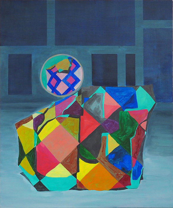 Painting by Louisa Chambers. Bulky form with colourful geometric patterned surface against a patterened deep blue and pale grey blue background.