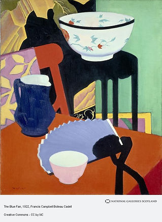 A vivid still life painting with blue jug, rust coloured chair, lilac fan, small pink bowl, large white flowery bowl and leaf pattern background patterns.