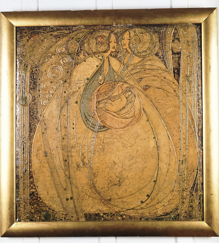Margaret Macdonald Mackintosh, Heart of the Rose​, 1901. Designed for the 'Rose Boudoir. A gold coloured panel depicting stylized female forms wrapped into flower forms.