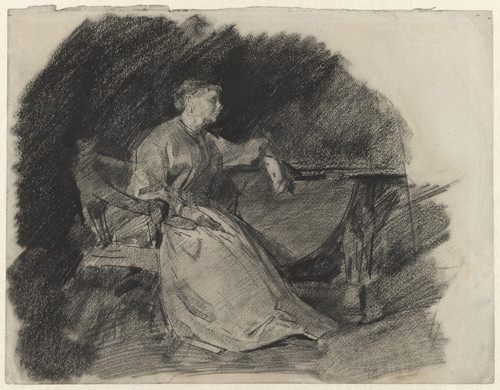 Zittende dame aan een tafel, George Hendrik Breitner, 1867 - 1923