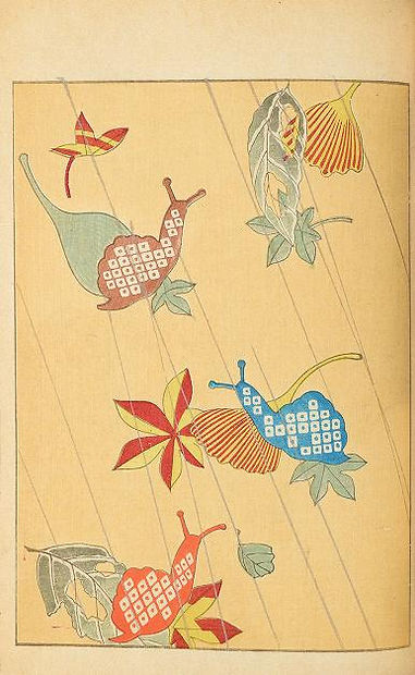 Shinbijutsukai Japanese print pattern made up of colourful snails, flowers and lines.