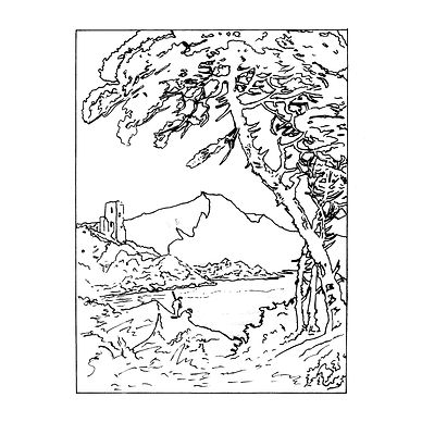 Black and white line drawing of a landscape with large tree in the foreground, ruins of a building and mountains in the background.