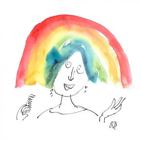 Illustration by Quentin Blake of a woman with a rainbow for hair. Portable Rainbows free e-card.