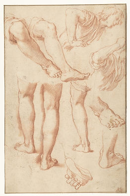 Pencil sketches of legs, feet and the arms and torso of a male.