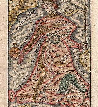 Ancient map of Europe As A Queen, Sebastian Munster,1570