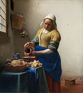 Image: Johannes Vermeer, The Milk Maid, 1657-58. Public domain image. This famous painting depicts a milkmaid wearing a white headscarf, golden-beige buttoned dress and royal blue apron, she is pouring milk into a bowl from a teracotta coloured jug. On the table there's also a basket of bread. We can see part of a window with small panes on the left, and baskets hanging on the cream worn walls, and a small box on the floor behind her, which appears to contain another small vessel.