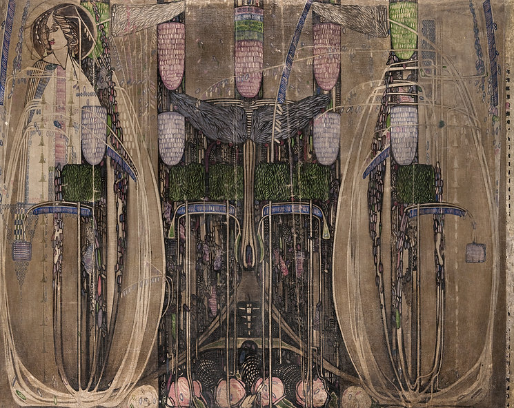 Margaret Macdonald Mackintosh and Charles Rennie Mackintosh, wall hanging designed for The Dug-Out, Willow Tea Rooms, Glasgow, 1914, paint on canvas backed on linen. Highly intricate, patterned image with tall architectural forms, a human figure to the left, shapes reminiscent of birds' wings, lamps and flowers.