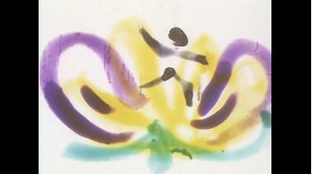 Still image from Margaret Tait's film Calyspo. Colourful painterly brushstrokes.
