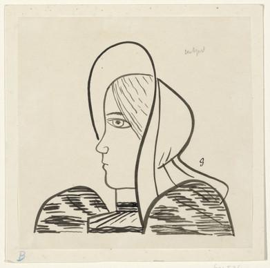 Ontwerp voor een vignet voor het maandblad voor Beeldende Kunsten: een vissersvrouw, Leo Gestel, 1891 - 1941