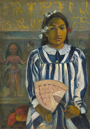 Paul Gaugin painting of Tahitian Girl in blue and white striped dress holding a fan.