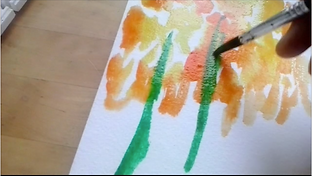 Still frame from video demonstration on watercolour painting showing brush and paper with watercolour painting of flower forms.