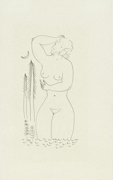 Badende naakte vrouw bij maanlicht, Tinus van Doorn, 1939