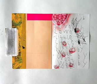 "Collage including beige-gold area, bright pink strip, a section of an old floral print, child-like handwriting reading ""down, little, what, by"", along with prints from pomegranate seeds."