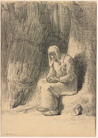 Jean-François Millet 1814-1875 Woman Seated beside a Bundle of Hay.