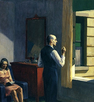 Image: Edward Hopper, Hotel by a Railroad 1952, Wikimedia Commons. A painting depicting a room in shadow, with bright yellowish light visible on a wall outside through an open window. A woman sits reading in a pink nightdress and a man faces right, towards the open window, smoking. The colours in the room are deep and contrast sharply with the artificial-coloured light outside.