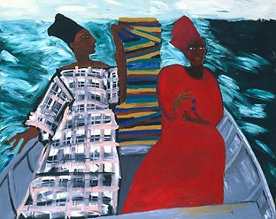 A painting depicting the rear of a small boat, choppy looking sea and two black female figures wearing tall headdresses and brightly coloured long dresses of red and pink and grey check.