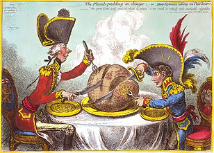 James Gillray's caricatureThe Plumb-pudding in Danger(1805). The world being carved up into spheres of influence betweenPittandNapoleon.
