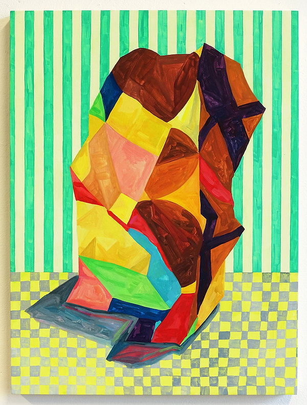 Painting by Louisa Chambers of tall irregular form with coloured patterned surface situated on a grey and yellow checkerboard patterned ground with a crem and minty green striped background.
