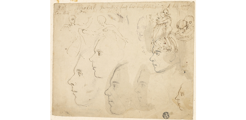Sketches of Male Profiles, Couple Embracing, Date: n.d.  Artist: Attributed to Thomas Stothard English, 1755-1834
