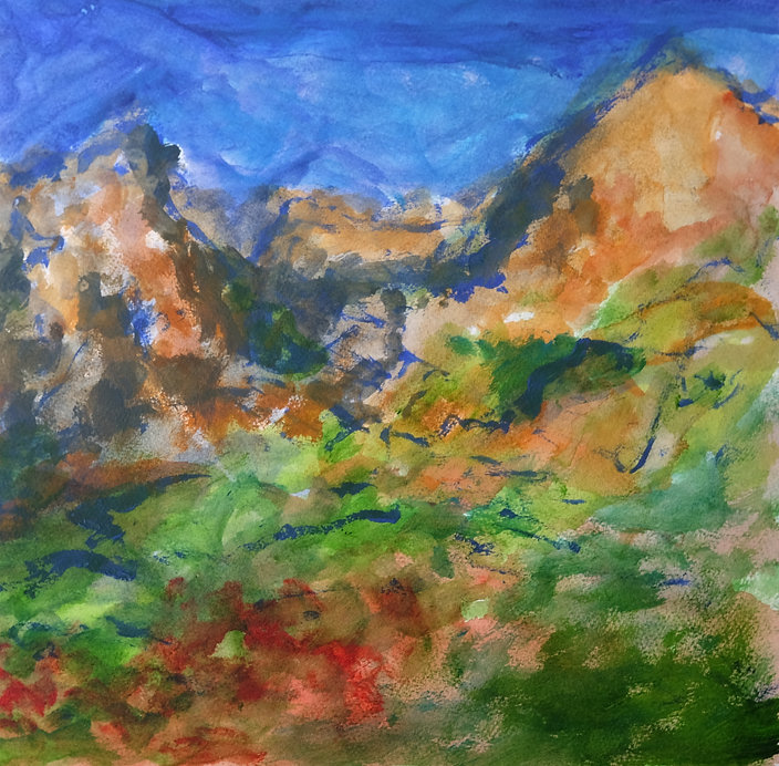 A vivid landscape painting depicting mountains and a green valley. The sky is a strong azure blue and there's red foliage in the foreground.