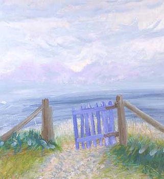Image: Winifred Nicholson, Gate to the Isles, 1980, Oil on canvas 41cm x 61cm © Trustees of Winifred Nicholson. A painting depicting a seascape, with a half open gate in the foreground. The sky is pale lilacs and greyish blues with soft looking clouds, the sea is a greyish blue, the gate is a cornflower blue with brown wooden fence, and theres a softly rendered gravelly looking path with plants in the foreground. The painting is bright and loosely executed.