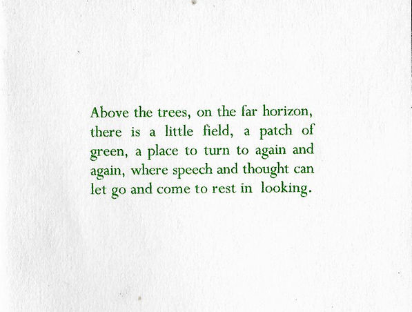A block of green coloured text, it reads: Above the trees, on the far horizon, there is a little field, a patch of green, a place to turn to again and again, where speech and thought can let go and come to rest in looking.