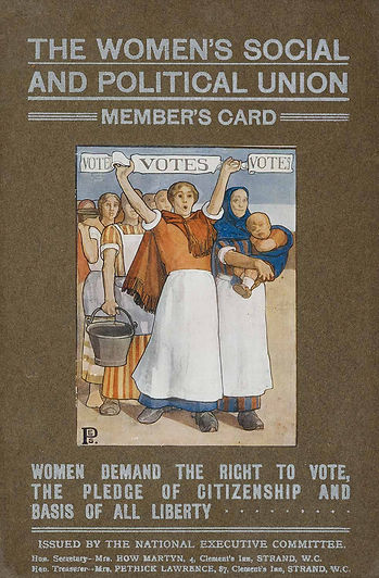 "Sylvia Pankhurst: WSPU Membership Card. Courtesy of Helen Pankhurst. The text on the membership card reads ""The Women's Social and Political Union Member's Card. Women demand the right to vote, the pledge of citizenship and basis of all liberty. Issued by the National Executive Committee. Hon Secretary Mrs How Martyn, & Hon Treasurer Mrs Pethick Lawrence, 4 Clement's Inn, Strand, W.C. The image is a painting of a group of women in long skirts and aprons holding a banner that reads ""VOTES"". They are variously carrying buckets and a baby. It is painted in a simple realistic style predominantly in brown and blue shades."