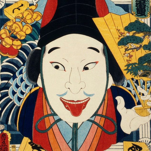 One of the portrait from the collection of portraits, Portraits of an Actor by Toyohara Kunichika (1835-1900), a traditional Japanese Ukyio-e style illustration,  Original from Library of Congress. Digitally enhanced by rawpixel.