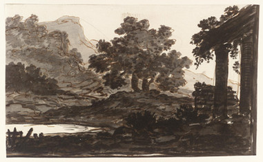Alexander Cozens,  Colonnade and Trees, 1717–1786. MEDIUM: Graphite, ink and watercolour on paper  Tate Archive, Creative Commons CC-BY-NC-ND (3.0 Unported)