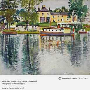 Colourful painting by George Leslie Hunter of a view from the water to Balloch; trees are reflected on the water, a steam boat sits resting and yellow and white coloured buildings are in the background.