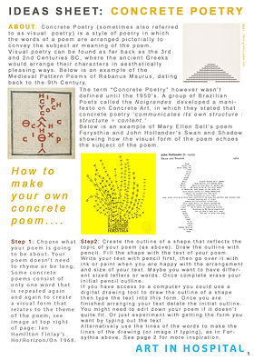 Ideas Sheet with text and illustrations on how to make your own concrete poem.
