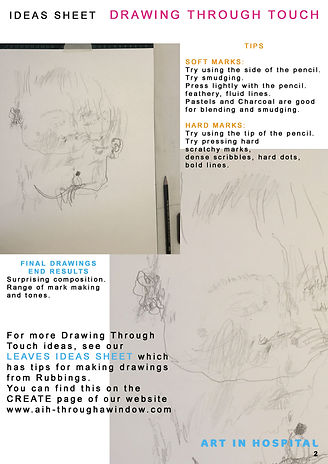 Second page of Drawing Through Touch Ideas Sheet with two illustrations of the final drawing having completed the exercise.