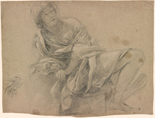 Simon Vouet 1590-1649 Study of a Woman Seated on a Step with Another Study of her Right Hand. Verso: Slight sketch of a reclining woman