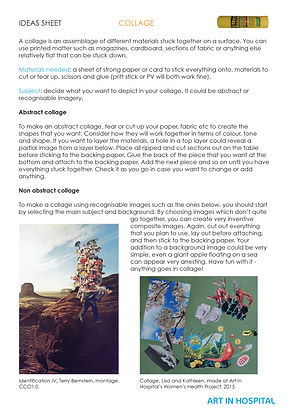 Ideas sheet with text suggestions on how to make a collage with two collaged images.