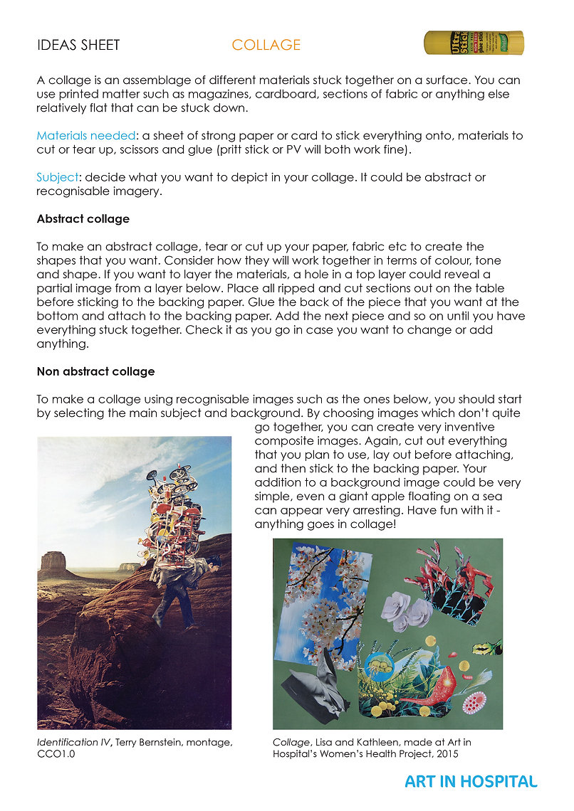 Ideas Sheet with text and illustrative images on how to make a collage