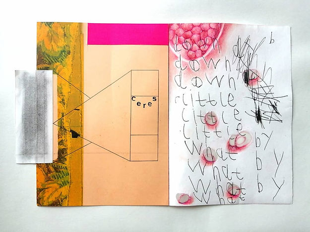 "Collage including beige-gold area, bright pink strip, a section of an old floral print, child-like handwriting reading ""down, little, what, by"", prints from pomegranate seeds, along with a geometric fine-lined black shape at the letters CERES."