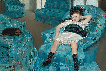 Image: Mary Cassatt Little Girl in a Blue Armchair, 1878. Public domain image. An impressionist painting depicting a small girl sitting on a turquoise blue chair in the foreground; she wears a white dress and has a tartan blanket over her belly, her left arm is bent upwards and her hand cradles her head. Next to this chair is another with a small terrier lying down, and in the background are two more chairs.