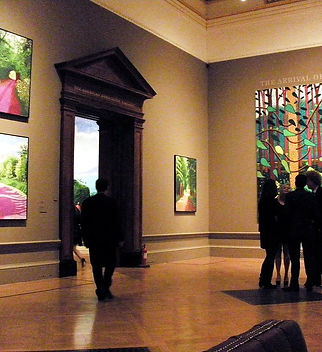 A photo of Hockney's artwork in a museum.