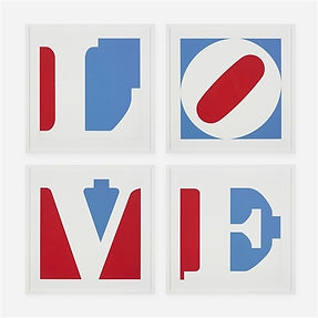 Robert Indiana's painting Four Panel Love. Four panels in a two by two grid. Each with a capitol letter spelling LOVE, painted in blue and red, with the letter appearing white. The word love reads from top left panel clockwise to bottom left.